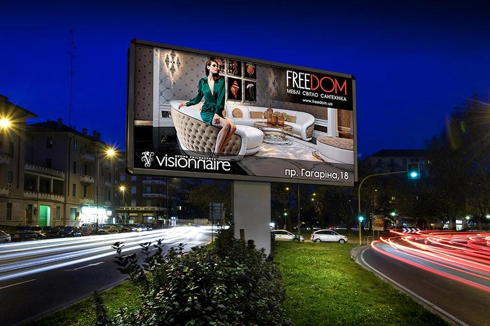 Billboard for furniture company